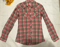 Rock 47 Wrangler Womans Cowgirl Rodeo Western Shirt Snap Small Pink (c)