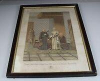 Papst LEO XIII und sein Staats Secretär - altes sakrales Bild + Rahmen + Glas H8