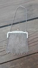 1920's VINTAGE/ANTIQUE .800 EUROPEAN STERLING SILVER MESH EVENING PURSE 114 GRS.