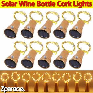 10-20LEDs Solar Fairy Lights Wine Bottle Cork Light Wedding Xmas Party Decor UK
