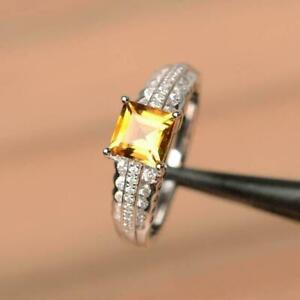 2Ct Asscher Cut Yellow Citrine Solitaire Engagement Ring 14K White Gold Finish
