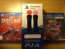 Sony (PlayStation Move) paquete de 2 (ps4) mundos VR) 4 Juegos en 1and (Spiderman)
