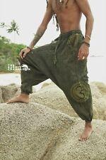 Stonewashed Harem Pants Mens Green Hippie Distressed Yoga Festival Om Ohm