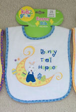 Kids 2 Grow BLUE Easter Bunny BUNNY TAIL HOPPER! Easy Close Bib NWT