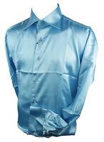 Mens Italian Design Baby Blue Silk Satin Finish Shirt Smart Slim Fit