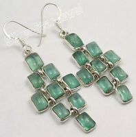 """925 Solid Silver Sparkling APATITE 9 STONE MAT STYLE LONG Earrings 2.2"""""""