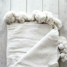 AUTHENTIC CREAM MOROCCAN POMPOM BLANKET THROW COTTON WOOL