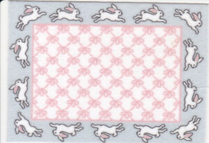 """Dollhouse Miniature Bunny Hop in Pink & Blue Small Accent Rug 2 3/4"""" x 2"""" RG225"""