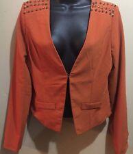 BOUTIQUE AVAILABLE DESIGNED IN USA SZ S Blazer Jacket BURNT ORANGE STUDS