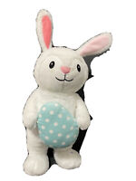 Gemmy Bunny Rabbit White Plush Animated Bunny Rabbit Easter Egg Dances Sings 15""