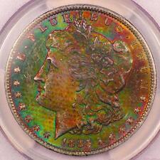 1885-O Morgan Silver Dollar *PCGS MS63* MONSTER Textile Rainbow Toning