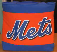 New York Mets Baseball T-Shirt Tote Bag, Orange & Blue Fleece Handmade, Upcycled