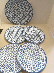 5 pc Tahari Blue Abstract Medallion MELAMINE. 4 Salad Lunch & 1 Dinner Plates