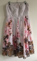 M&Co Boutique Sz 12 Ladies Strapless Cream Dress With Pink & Brown Floral Print