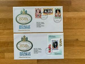 MALDIVES 1985 FDC x 2 QUEEN MOTHER 85TH BIRTHDAY ROYALTY & MINISHEET CHARLES