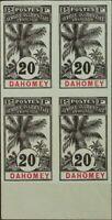 Dahomey. (*)Yv 23a(4). 1906. 20 cts negro sobre azul-gris, bloque de cuatro. SI