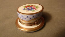 VINTAGE HAND-PAINTED FLORAL TOP HAT BOX SHAPED  LIMOGES FRENCH PORCELAIN BOX