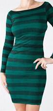 Green Long Sleeve Zigzag & Stripe Boat Neck Stretch Mini Dress
