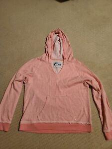 Zyia Womens Long Sleeve Drawstring Lightweight Beach Hoodie Pink Small NWOT