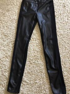 BCBG MAXAZRIA Stretch Leggings Black with Faux Leather On Front Size S