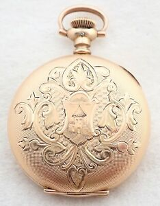 ANTIQUE 3/0S HAMPDEN DIADEM GOLD FILLED HUNTER POCKET WATCH