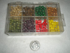 CRAFT WOODEN BEADS IN STORAGE  BOX YELLOW/RED/GREE/PURPLE/NATURAL