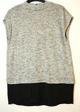 GREY SILVER BLACK LADIES KNITTED TOP BLOUSE SIZE S OASIS