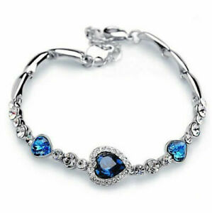 New Silver Heart Bracelet, Titanic Heart Tennis Bracelet, Heart Jewelry, Gift