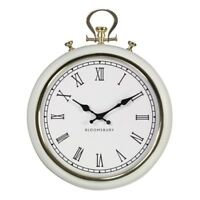 White Metal Wall Clock Round Hanging Pocket Style Gold Trim Antique Time Piece