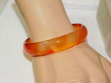 Carnelian Translucent Agate Carved Stone Round Bangle Bracelet 8m 4