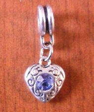 pendentif argenté coeur strass bleu