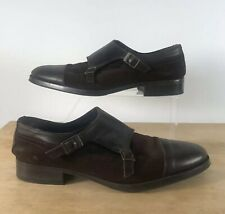 Zara Mens Aldo ISARN Brown Suede Leather Double Strap Monk Shoes UK SIZE 9