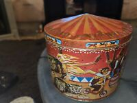 Vintage Poul Friis Big Top Circus Empty Metal Cookie Tin Featuring Elephants etc