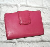 Rolfs Genuine Leather Wallet Pink Clutch Kisslock Coin Card Bifold Accent Stitch