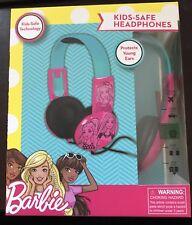 Mattel Kid Safe BARBIE HEADPHONES Adjustable ON EAR BAND - NEW IN BOX pink&blue
