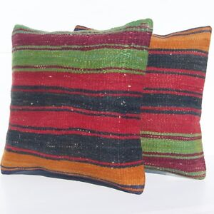 """16""""X16"""" HANDMADE TURKISH PILLOW COVERS TWO CUSHION CASE SQUARE WOOL AREA RUGS"""