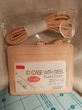 Daiso Brand - Dusty Pink Faux Leather ID Case With Reel and Neck Lanyard - NEW