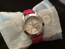 Ladies Floating Butterfly Crystal Heart Pink Snake Textured Band Fashion Watch