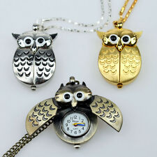 Brand New Cute Owl Pendant Necklace Quartz Pocket Dress Watch GL03