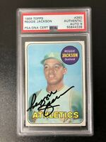 1969 Topps #260 Reggie Jackson Authentic Auto (Rookie RC) Oakland A's