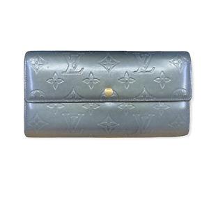 LV3133 LOUIS VUITTON Grey Matte Vernis Monogram Leather Sarah Envelope Wallet