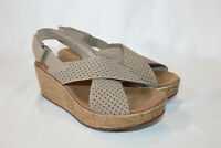 Clarks 10 medium sand perforated Nubuck Cork Wedge Sandals Stasha Bridget