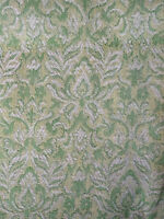Vintage Nubby Texture Pinch Pleated Curtain Drape Retro Green Yellow White MCM