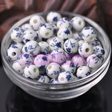 New 15pcs 10mm Ceramic Porcelain Round Loose Spacer Beads Charms Jewelry Making