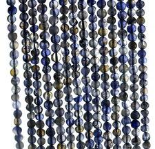 "4MM  BERMUDAN BLUE IOLITE GEMSTONE  GRADE B BLUE ROUND LOOSE BEADS 14.5"""