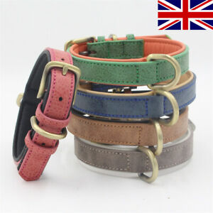 Quality Faux Leather Dog Collar Metal Buckle Soft Padded XS, S, M, L, XL  (UK)