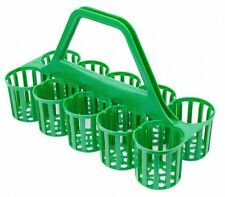 More details for glass carrier green 10 compartment green basket bottle holder bar pub b3910g