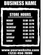 """Custom Business Store Hours Sign Vinyl Decal Sticker 11""""x14"""" Door Glass"""