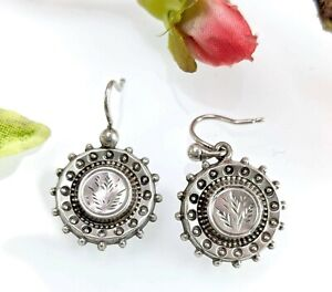 Antique Victorian Silver Drop Earrings, Wheat Grasses Design