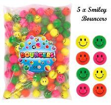 5 x Smiley Rimbalzante Jet Balls Bambini Festa Di Compleanno Bottino Borsa Giocattoli Regali PALLINE 3.5cm